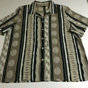Allison Daley Short Sleeve Button Top Blouse 18